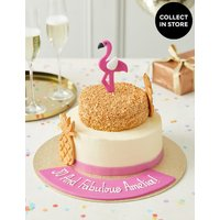 Personalised Tropical Flamingo Cake (Serves 28) at Marks and Spencer Online