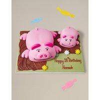 Personalised Percy Pig & Piglet Cake (Serves 26)