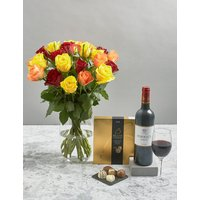 Autumnal Roses, Red Wine & Belgian Chocolates Gift Selection