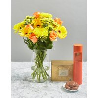Beautiful Autumn Bouquet, Luxury Tea & Biscuits Gift Selection