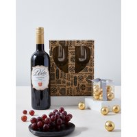 Red Wine, Chocolates and Glasses Gift Set at Marks and Spencer Direct