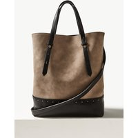 M&S Collection Faux Leather Studded Shopper Bag