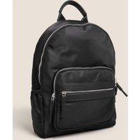 M&S Womens Nylon Zip Backpack - 1SIZE - Black, Black