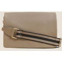 MandS Womens Faux Leather Messenger Cross Body Bag - 1SIZE - Mushroom, Mushroom,Black,Red