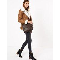 MandS Womens Leather Textured Messenger Bag - 1SIZE - Black, Black