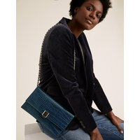 MandS Collection Croc Effect Chain Clutch Bag