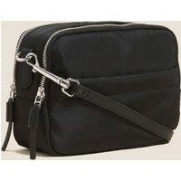 MandS Womens Zip Around Cross Body Camera Bag - Black, Black