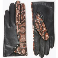 M&S Collection Leather Snake Print Gloves