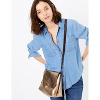MandS Collection Metallic Leather Messenger Bag