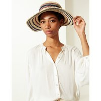 MandS Collection Crochet Look Striped Sun Hat