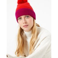 MandS Collection Wool Rich Colour Block Pom-Pom Beanie Hat