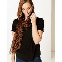 M&S Collection Pure Silk Animal Print Scarf