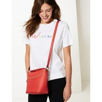 M&S Collection Faux Leather Chain Detail Cross Body Bag