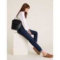 MandS Womens Leather Shoulder Bag - 1SIZE - Black, Black,Tan