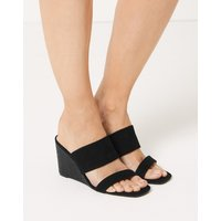 M&S Collection Wedge Heel Two Band Sandals