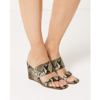 M&S Collection Wedge Heel Animal Print Two Band Sandals