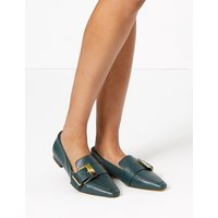 Autograph Leather Buckled Square Toe Loafers