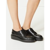 Twiggy for M&S Collection Leather Flatform Brogue Shoes