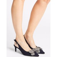 M&S Collection Wide Fit Kitten Heel Jewel Bow Sandals