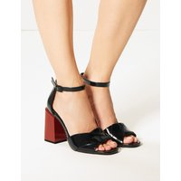 M&S Collection Wide Fit Statement Heel Patent Sandals