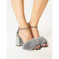 M&S Collection Wide Fit Block Heel Faux Fur Sandals