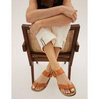 Leather Toe Loop Sandals brown