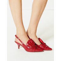 M&S Collection Kitten Heel Bow Slingback Court Shoes