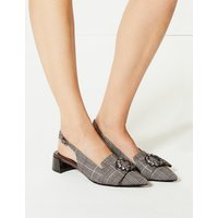 M&S Collection Block Heel Jewel Slingback Court Shoes