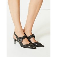 M&S Collection Kitten Heel Buckle Slingback Court Shoes