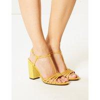 M&S Collection Block Heel Diamanté T-Bar Sandals