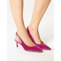 M&S Collection Kitten Heel Jewel Slingback Court Shoes