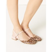 M&S Collection Statement Heel Animal Print Strap Slingback Shoes