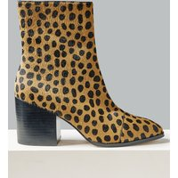 Autograph Leather Block Heel Side Zip Ankle Boots