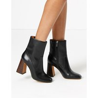 Autograph Leather Flared Heel Ankle Boots