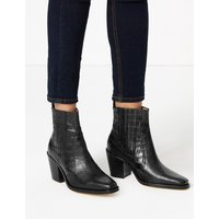 Autograph Leather Crocodile Print Block Heel Boots