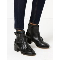 Autograph Leather Buckle Biker Ankle Boots