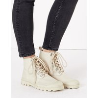 MandS Collection Canvas Lace Up Flatform Ankle Boots