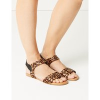Leopard Print Open Toe Sandals brown