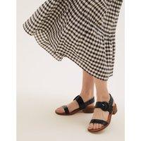 Leather Ankle Strap Block Heel Sandals black