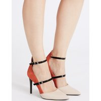 M&S Collection Leather Stiletto Heel Strap Court Shoes