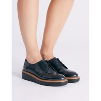 M&S Collection Leather Flatform Brogue Shoe