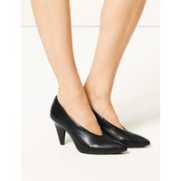 M&S Collection Leather High Cut Pointed Court Shoes