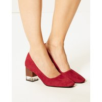 M&S Collection Suede Statement Heel Square Toe Court Shoes