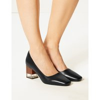 M&S Collection Leather Block Heel Court Shoes