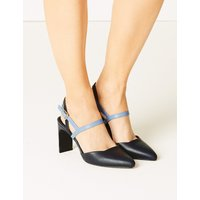 M&S Collection Leather Almond Toe Court Shoes