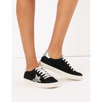 M&S Collection Suede Lace Up Star Trainers