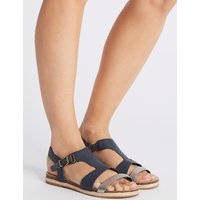 M&S Collection Wide Fit Leather Rope Detail Sandals