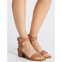 M&S Collection Wide Fit Leather Block Heel Sandals