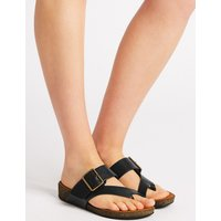 M&S Collection Wide Fit Leather Toe Thong Mule Sandals