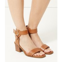 M&S Collection Wide Fit Leather Ankle Strap Sandals